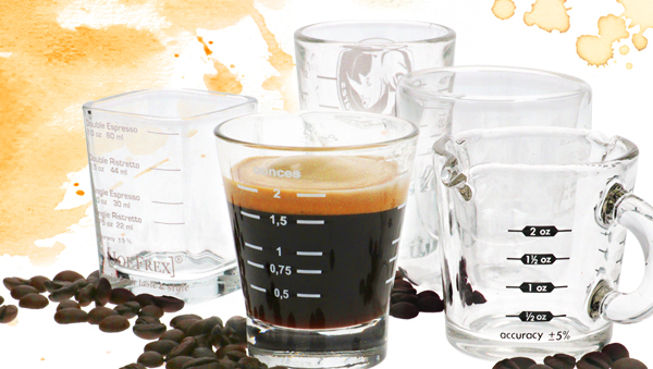 A special line of measuring glasses for coffee